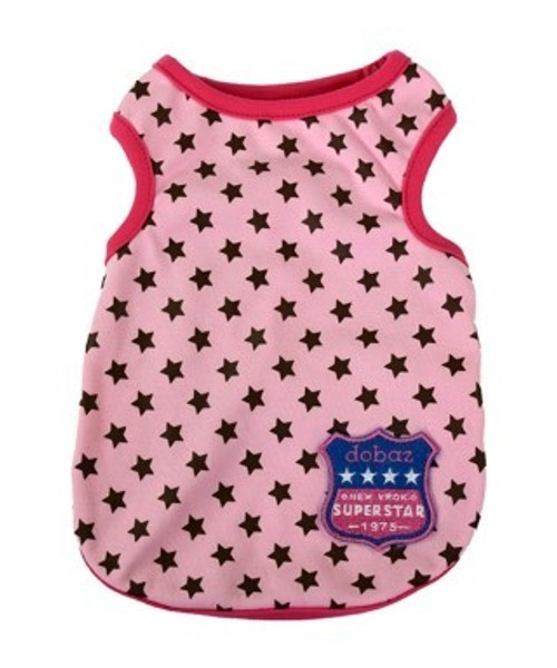 A cute lightweight designer tanktop for the dog around townm Dobaz motif, Ideal for any serious fashion minded dog.