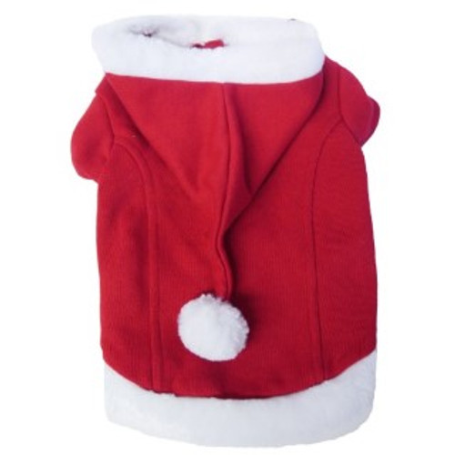 Cute red santa coat with white fur trim. Can be secured with velcro. Great for novelty dress-up for your dog at christmas!