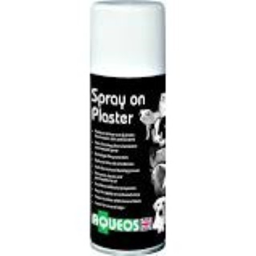 Aqueos Animal Spray on Plaster 200ml.  Protects minor cuts and grazes from water, dirt and bacteria to reduce the risk of infection. The silver aluminium micronized spray forms a film over the wound to give bandage-like protection.  Aids the natural healing process and remains elastic and permeable to air.  Excellent adhesive properties, stays in place while the wound heals. Easy to apply in awkward areas and lasts for several days.