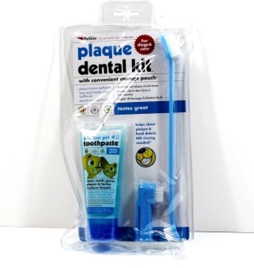 Plaque Dental Kit & Storage Pouch Contains:  Plaque & Tartar Gel Toothpaste - Formulated specifically for dogs, no rinsing needed - Formula cleans plaque and tartar accumulation - Helps clean teeth and fights bad breath Long Reach Double Sided Toothbrush - Long reach handle for hard to clean teeth - Small and large head for plaque and food cleaning Easy To Use Fingerbrush - Gently removes plaque, food debris and massages gums - Easy-to-use, just slip over finger  - Ideal for puppies  - Plaque and tartar toothpaste. - Long reach double sided toothbrush. - Easy-to-use fingerbrush.