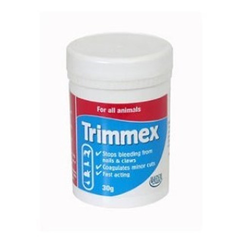 Trimmex Pet Grooming Aid Coagulating Powder 30g for dogs & cats. Hatchwells Trimmex is a quick acting coagulant that stops blood flow fast. Suitable for use with all animals, Trimmex stops bleeding with quickened nails and minor cuts and grazes. Apply to the quick immediately if bleeding occurs with a cotton wool bud.