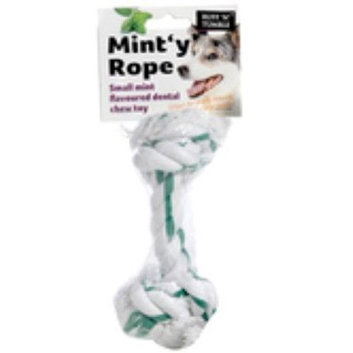 Hard wearing, dental dog chew flavoured with mint Helps keep your pets teeth healthy and breath fresh. Durable rope Tastes of mint Hard wearing Dental chew toy