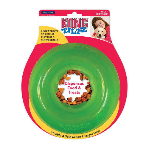 insert treats to extend playtime and slow feeding Wobble & Spin action engages dogs Dispenses Food & Treats