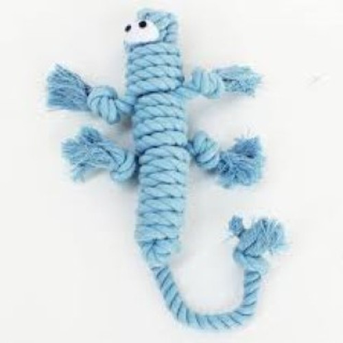 Comes in a fun lizard shape Made of durable rope for long lasting tugging Satisfies your dog's need for chewing and playing