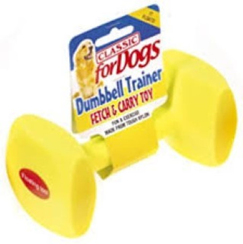 The classic training dumbbell provides fun enjoyment and exercise for your dog. These  Dog Training Dumbbells are manufactured from high-strength nylon, which makes it durable, yet they also float.   Please Note: These toys are not indestructible. Please supervise your pet when they are playing with them.