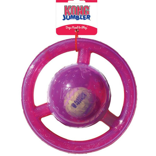 A two-in-one ball toy for twice the interactive fun, the interior tennis ball and loud squeak entice play while the handles make pickup and shaking easy. Jumblers are ideal for games of fetch ensuring an exciting, active play session for you and your dog.