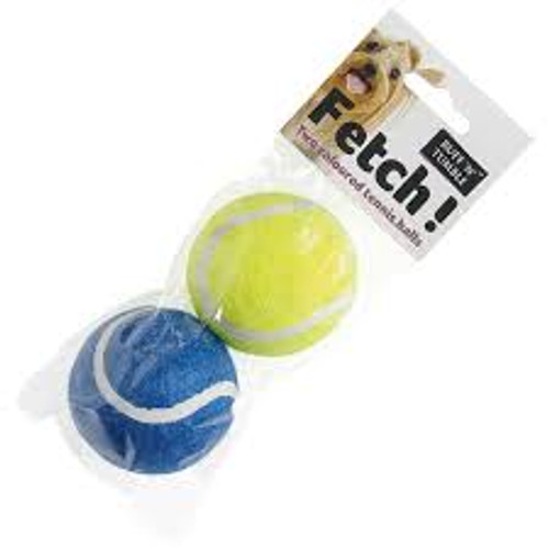 Sharples & Grant Ruff 'N' Tumble Fetch Tennis Balls - Pack of 2.  Great value, colourful tennis ball two pack for throw and fetch games with your pet.  Please note: we cannot guarantee what colours will be sent