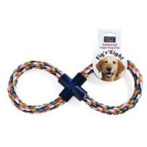 Fig 'R' Eight is a great dog toy forming part of the Ruff 'N' Tumble range by Sharples & Grant and is a fantastic addition to any dog's toy box.  Made from safely dyed multi-coloured rope and hard wearing plastic, this tug toy will provide hours of fun for your dog.