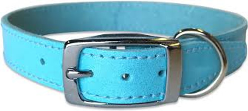 High quality blue leather plain dog collar hand made in Britain. Various sizes of this dog collar available