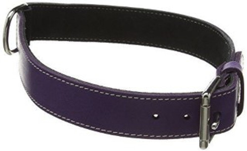 BBD Plain leather dog collar- Purple