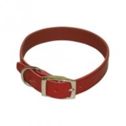 BBD Plain leather dog collar- Red