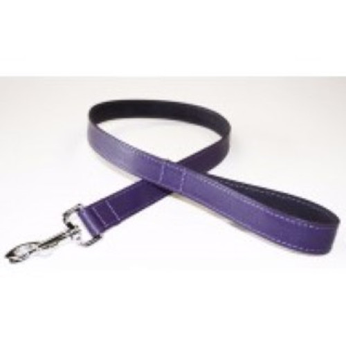 "BBD Plain leather dog lead--Purple   3/4"" x 40"""