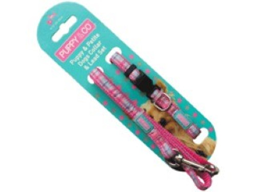 Fully adjustable collar and lead Constructed in sassy pink coloured nylon material Ideal for puppies and small sized dogs
