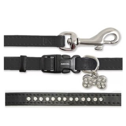 Ancol Small Bite Puppy Collar & Lead Set Diamante Black 20 -30cm