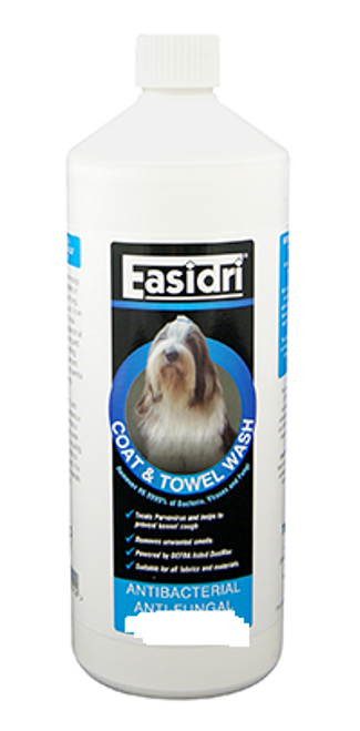 Easidri, a great product for washing pet fabrics such as blankets and towels. Cuts out all microorganisms, .A must for any dog owner whotakes hygiene seriously.