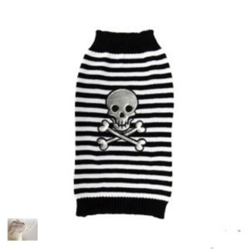 A fun design .dog jumper for your  pet  Available  in a choice of sizes and featuring a fun scary skull and crossbones design,