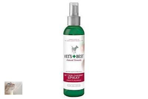 Bitter Cherry Spray for dogs is a natural detterent to chewing itching and  licking of wounds. Pleasntly smelling but very bitter to the taste.