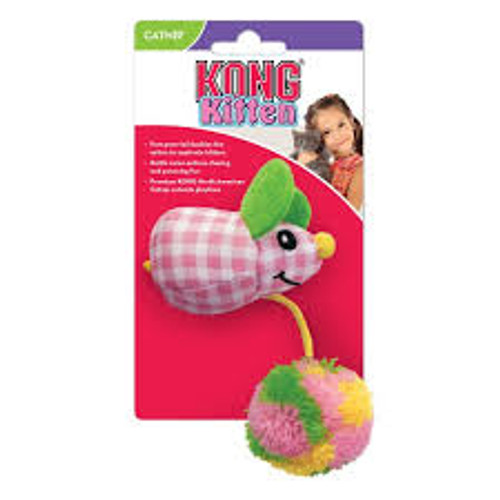 Kong kitten pom mouse A great kitten toy with rattle and North American catnip  ideal for any cat or kittens playtime