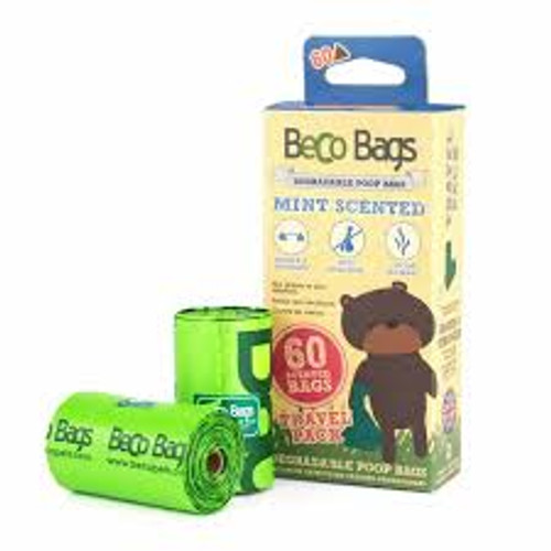 Contains 60 degradable poo bags Mint scented Heavy duty bags Extra sized to leave no mess Convenient & hygienic