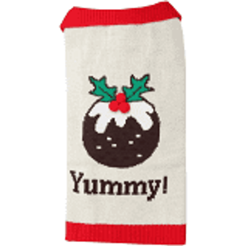 A Tasty Xmas Pudding Jumper to help keep your dog warm and toasty this Christmas.  The perfect novelty christmas gift for your dog.