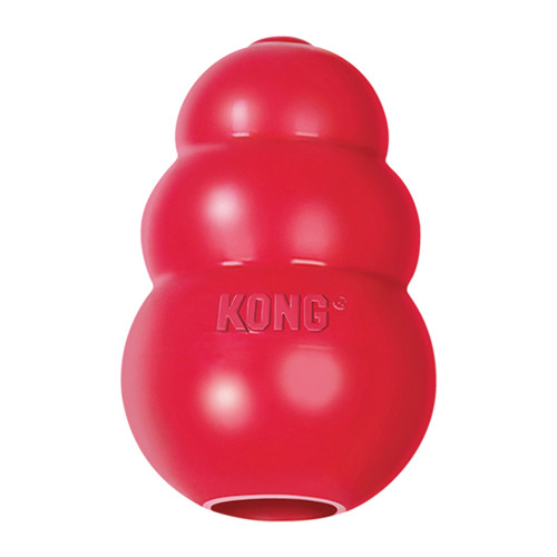 Mentally stimulating toy; offering enrichment by helping satisfy dogs' instinctual needs KONG classic red rubber formula for average chewers Unpredictable bounce for games of fetch Great for stuffing with KONG Easy Treat or Snacks Recommended by veterinarians and trainers worldwide Natural rubber Made in the USA. from Globally Sourced Materials.