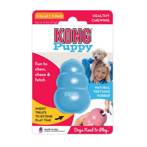 Teaches appropriate chewing behavior while offering mental enrichment Soft puppy KONG rubber formula is customized for puppy teeth and gums Unpredictable bounce for games of fetch Great for stuffing with KONG Puppy Easy Treat; Snacks  Recommended by veterinarians and trainers worldwide Natural rubber Made in the USA. Globally Sourced Materials. Another great toy sold here at Elliotspetwarehouse