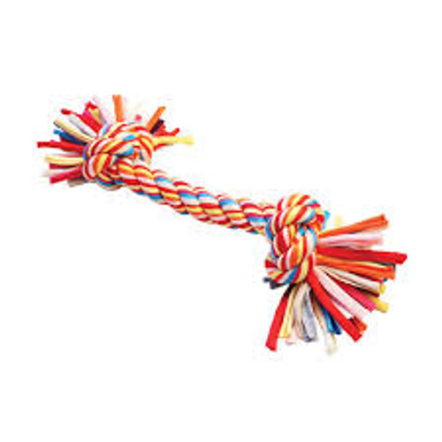 Every dog needs a great toy to chase and play tug with, and with this tugger they will get a vibrant toy that will last many play sessions.  This fantastic knotted toy is made from recycled materials, and has been wound into a multi-coloured rope with knots to make sure your canine friend gets a good grip on this during play sessions.  Colours dispatched may vary