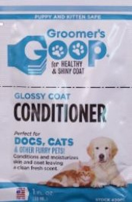 Groomers Goop Conditioner for dogs and cats puppies and kittens.  A deep conditioner and moisturizer. Leaves superb shiny coat after shampooing.  Trial packs ideal for taking with you on travel and show events