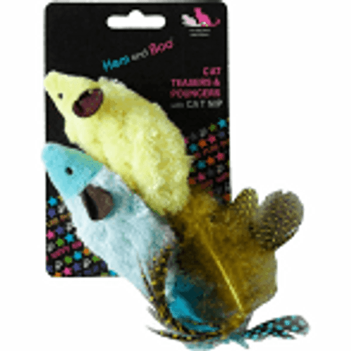 Bright, mixed colour, 2 soft mice pouncers per packing card with cat nip and fabulous feathers for a tail for the extra fun factor!