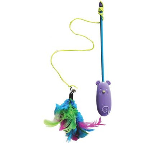 "Spot Laser & Feather Teaser Wand Cat Toy, 16"" is a laser light and teaser in one! Tempting feathers and laser light entices kitty to swat and pounce."