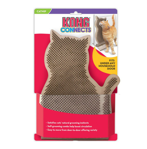 Satisfies cats' natural grooming instincts Self-grooming combs help boost circulation Easy to move from door-to-door offering variety Freestanding doorstop snaps together without tools Includes pouch of KONG North American Premium Catnip for refills