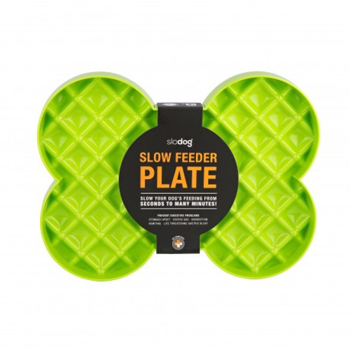 Slodog® is a unique approach to slow feeding or anti-gulping. By changing from a bowl to a plate, a much larger surface area becomes available to the feeding dog. All the food is in plain sight and does not have to be chased, this avoiding frustration. Ideal for all dogs
