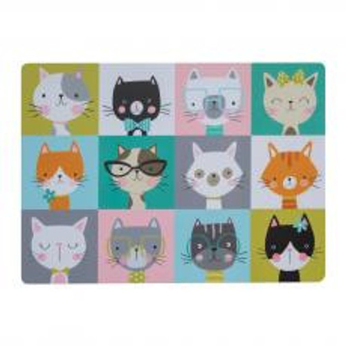 Make mealtimes a bright and fun occasion with the Mason Cash Pawtrait Cat placemat. With colourful, unique portraits of cute cats, the placemat is designed to protect your floor in the feeding area. Easy to clean, wipe with a damp cloth.  Size: 43cm x 31cm