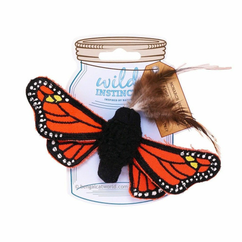 The Wild Instincts Monarch Butterfly won?t actually flutter and flap, but it can handle every cat bat. This realistic plush cat toy features soft yet durable fabric, natural feather antenna, and detailed embroidered wings that crinkle and crunch. It?s also filled with 100% natural catnip that will drive your cat?s inner hunting instincts wild with ever toss, bat, kick and pounce.Monarch Butterly