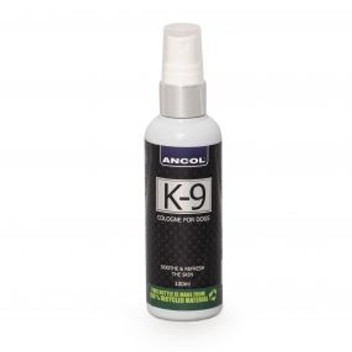 K9 Fragrance Cologne. 100ml pump spray bottle no propellants. Soothes and refreshes coat as well as fresh clean fragrance. Contains chamomile.  K9 Fragrance Cologne. 100ml pump spray bottle no propellants. Soothes and refreshes coat as well as fresh clean fragrance. Contains chamomile.