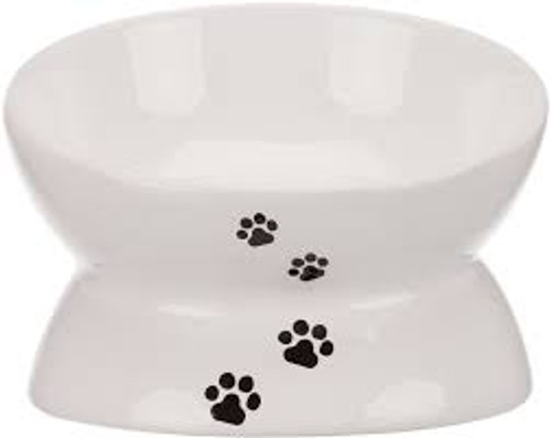 Ergonomically raised bowl for feeding cats and toy dogs. A great ergonomic bowl with cute pawprint design