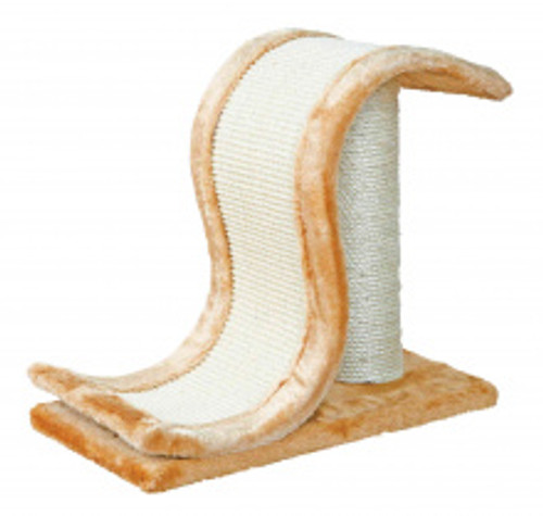 A great wave scratch post with plush brown trim and base. A great cat scratcher for any cat or kitten