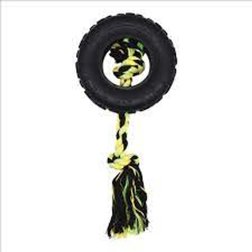 Tough durable rubber and rope dog toy Ideal for tough outdoor play Suitable for large breed dogs