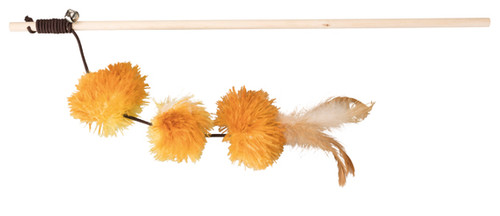 Fun pom pom cat teaser  in orange. Complete with valerian. Great interactive cat toy.
