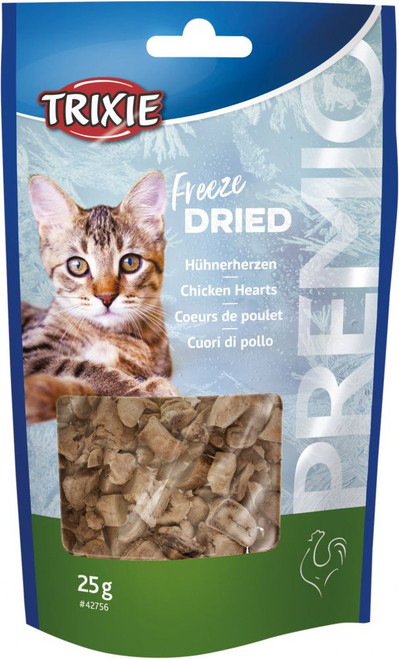 freeze dried natural chicken hearts A must for any cat. Irresistable cat treats for felines everywhere.