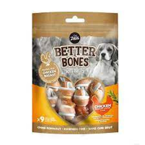 Soft treats for all dogs. Each pack contains nne bones. Rawhide free Wrapped with chicken breast Another great natural treat sold at elliotspetwarehouse