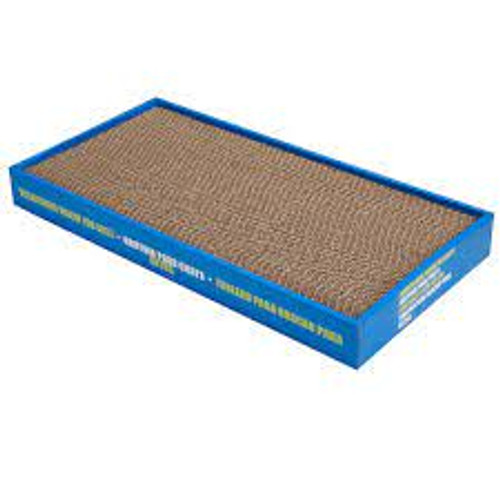 A wide cardboard scracther for all cats and kittens. Ideal for sharpening a cats claws.  Catnip included.