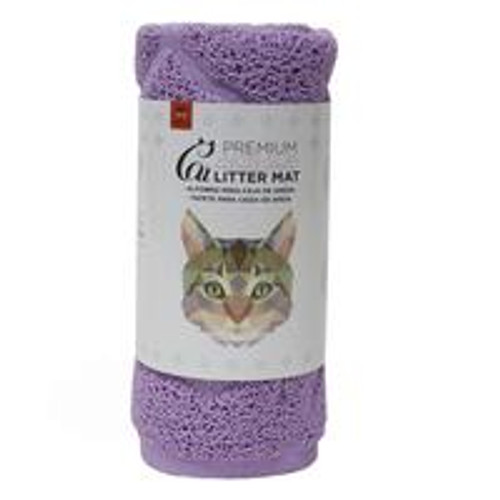 A great non slip mat to be placed in front of your cat litter tray to help stop litter being spread around on your cats paws. Easy washable mat in purple