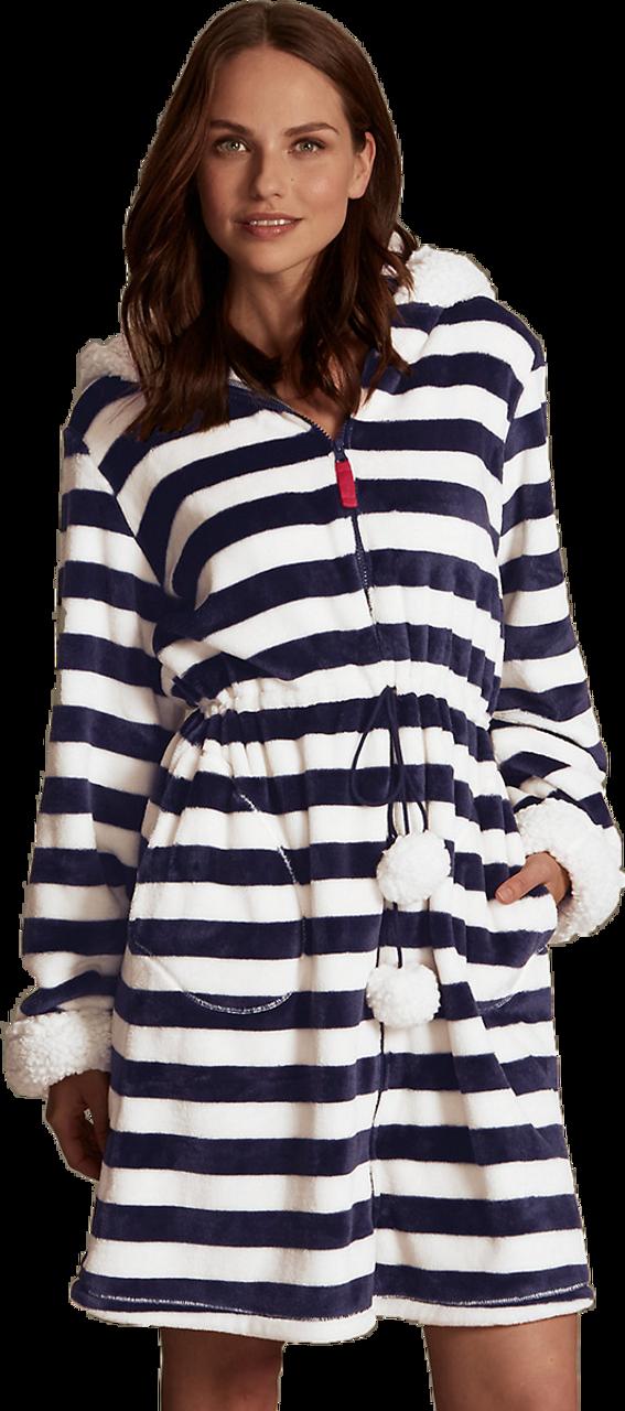Hooded Bear Striped Dressing Gown. Navy White. Ex M-S - marlynn.co.uk b9999c4cb