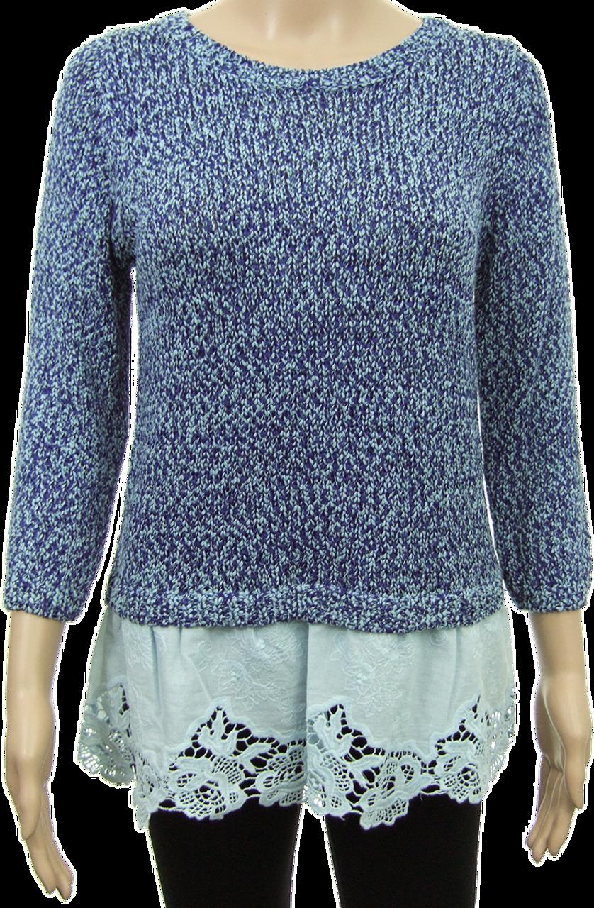 0cce97e25b25 Cotton Rich Broderie Hem 3/4 Sleeve Jumper - marlynn.co.uk