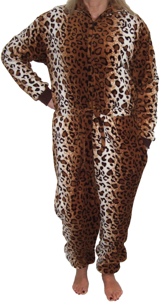 LADIES EX FAMOUS STORES FLEECE LEOPARD DRESSING GOWN NIGHTWEAR M/&5 M S