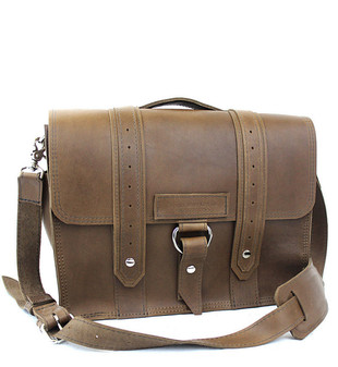 "14"" Newtown  Voyager Medium Laptop Bag in Brown Leather"