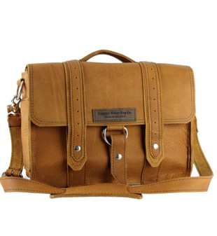 """14"""" Medium Newtown  Voyager Laptop Bag in Tan Grizzly Leather"""