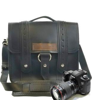 "10"" Small Voyager Safari Napa Camera Bag in Black Napa Excel Leather"