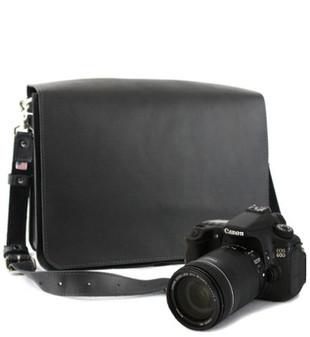 "15"" Large Mission Sonoma Camera Bag in Black Excel Leather"